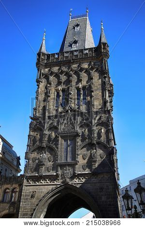 The Powder Tower is a high medieval Gothic tower in Prague Czech Republic