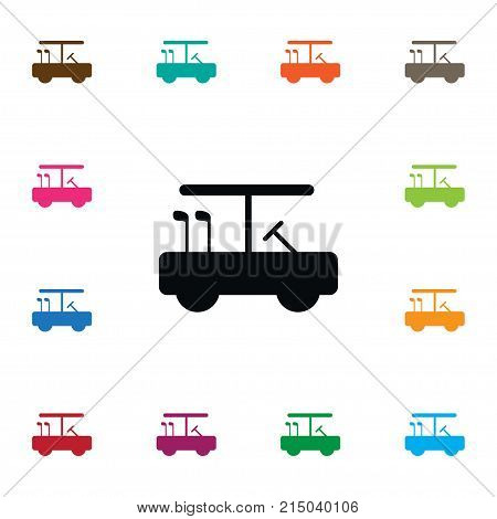 Golf-Car Vector Element Can Be Used For Leisure, Golf, Car Design Concept.  Isolated Golfing Icon.