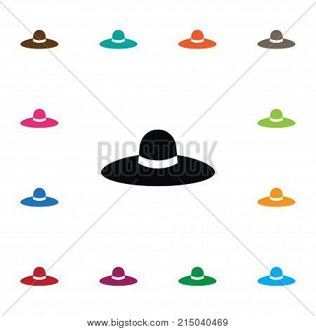 Broad Brim Vector Element Can Be Used For Trilby, Panama, Hat Design Concept.  Isolated Panama Icon.