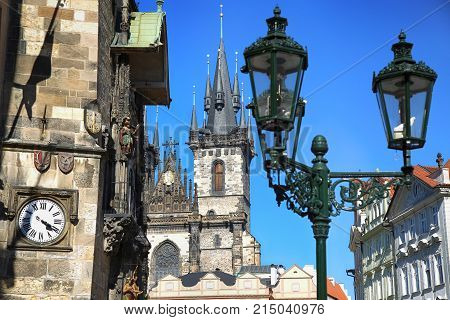 Famous Astronomical Clock Orloj and Church of our Lady Tyn in Prague Czech Republic