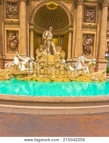 Las Vegas, United States of America - May 05, 2016: The Fountain at hotel Caesar Palace at Las Vegas, United States of America on May 05, 2016. Caesar Palace is a luxury hotel and casino located on the Las Vegas Strip.