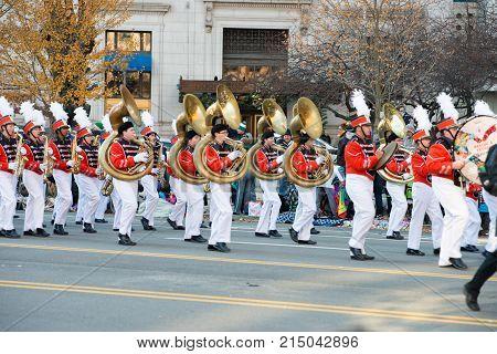 Philadelphia, PA - November 23, 2017: View of Annual Thanksgiving Day Parade in Center City Philadelphia, PA