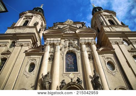 View of Cathedral of Saint Nicolas at the Old Town Square in Prague Czech Republic