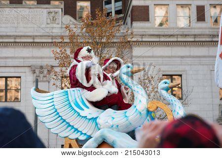 Philadelphia, PA - November 23, 2017: View of Santa Cluas at Annual Thanksgiving Day Parade in Center City Philadelphia, PA