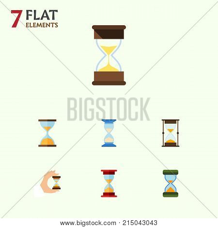 Flat Icon Sandglass Set Of Sand Timer, Waiting, Sandglass Vector Objects