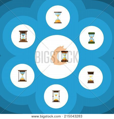 Flat Icon Timer Set Of Minute Measuring, Hourglass, Sandglass Vector Objects