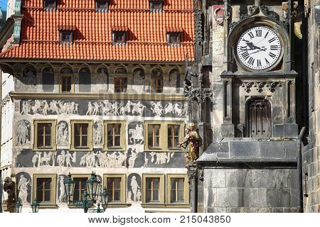 The Prague old City Hall and Astronomical clock Orloj at Old Town Square in Prague Czech Republic
