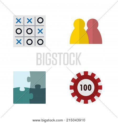 Flat Icon Entertainment Set Of Jigsaw, X-O, People And Other Vector Objects