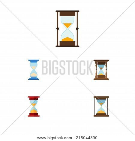 Flat Icon Sandglass Set Of Loading, Waiting, Instrument And Other Vector Objects