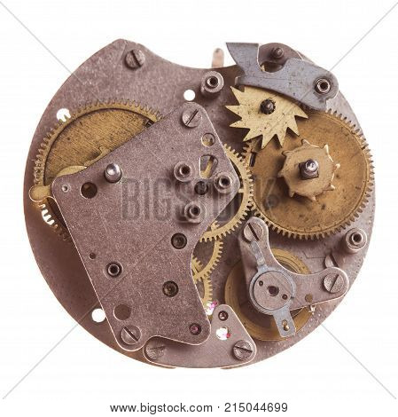 Vintage mechanical watches mechanism isolated on white