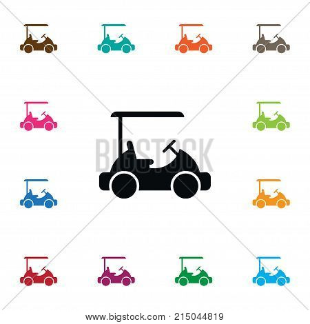 Sport Vector Element Can Be Used For Golf, Cart, Sport Design Concept.  Isolated Golf Cart Icon.