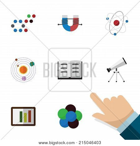 Flat Icon Knowledge Set Of Lecture, Milky Way, Molecule And Other Vector Objects
