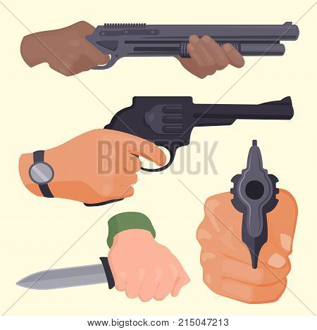 Hand firing with gun protection ammunition. Business startup concept criminal dangerous armed clip violence special revolver. Crime military police firearm hands vector.