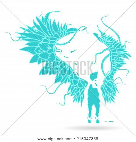 Gabriel keeper, sentine Vector illustration Silhouette of an flame angel, with large expanded wings - on a white background