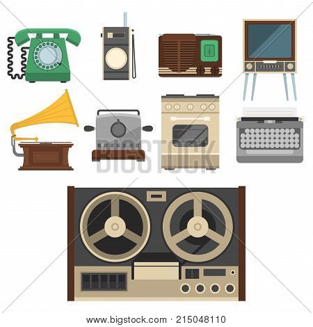 Retro vintage household appliances vector symbols. Kitchenware antique technology utensil symbols. Housework electric equipment domestic tools.