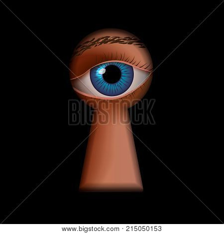 Black keyhole shape with human eye behind spy concept illustration