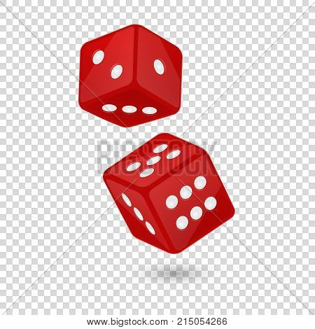 Vector illustration of red realistic game dice icon in flight closeup isolated on transparency grid background. Casino gambling design template for app, web, infographics, advertising, mock up etc.