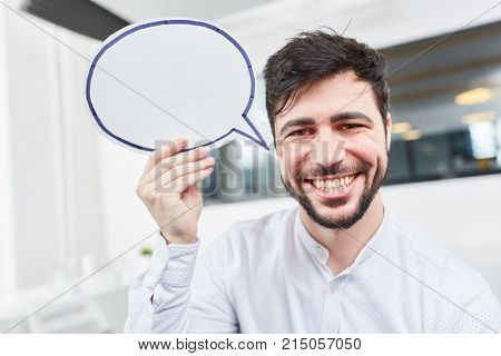 Creative start-up founder with speech bubble for communication ideas