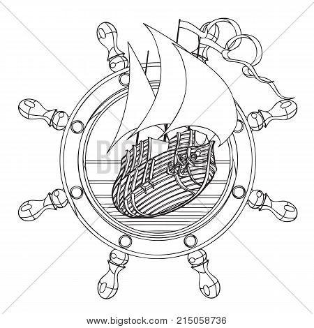 Simple black and white vector badge with sail ship and steering wheel executed in retro print style. File doesn't contains gradients blends transparency and strokes or other special visual effects. You can open this file with any vector graphics editors.