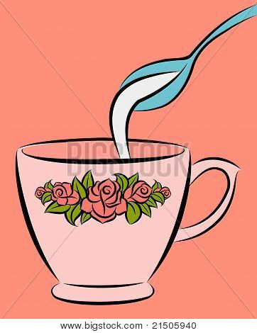 Bowl and spoon with milk. Vector