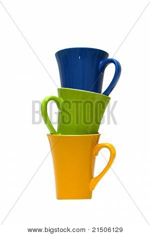 Stacks Of Colored Cups Isolated On White Background