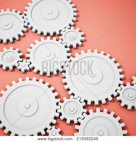 Complex gear mechanism on background. 3D illustration.