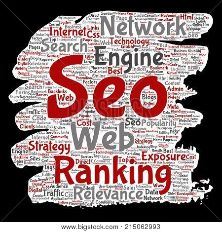 Conceptual search results engine optimization top rank, seo brush or paper online internet word cloud text isolated on background. Marketing strategy web page content relevance network concept