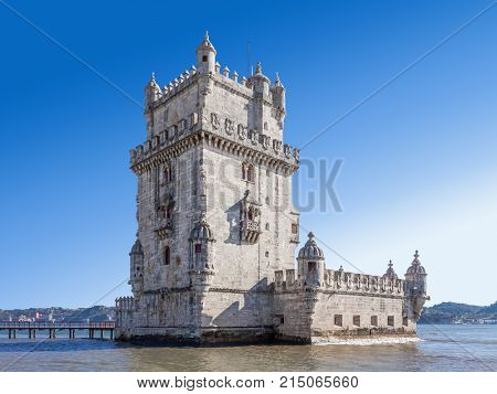 The famous Belem Tower in Lisbon, Portugal. Classified as UNESCO World Heritage it stands as the best example of the Manuelino art.