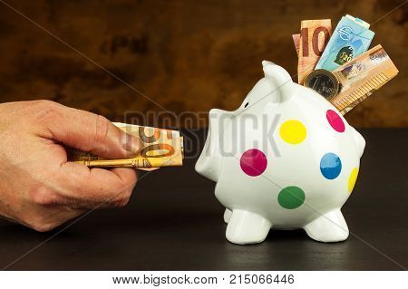 Piggy Bank. Money-box with valid euro banknotes. Savings on the mortgage. Bank sector