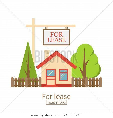 For lease. Home for rent icon. Real estate concept, template for sales, rental, advertising. Vector illustration flat design. Isolated on white background. Housing property sale. Offer estate.