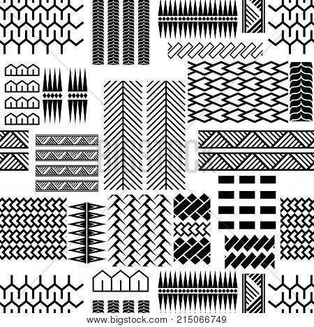 Black and white mayan embroidery seamless vector pattern. Monochrome geometric abstract repeat background with lines and shapes.
