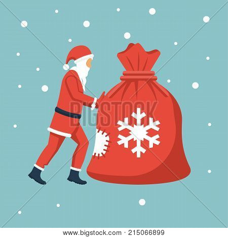 Santa claus carries big bag with gifts. Santa claus in red suit with white beard. Happy New Year and Merry Christmas. Vector illustration flat design. Isolated on background.