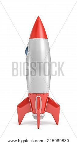 3d rendering of a silver and red rocket ship with a round porthole standing on a white background. Space travel. Interstellar flight. New ideas.