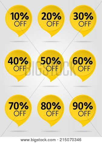 Special offer sale yellow tag isolated vector illustration. Discount offer price label, symbol for advertising campaign in retail, sale promo marketing, 50 percent off discount sticker, ad offer on shopping day. Sale icons. Sale tags. 10 percent off disco