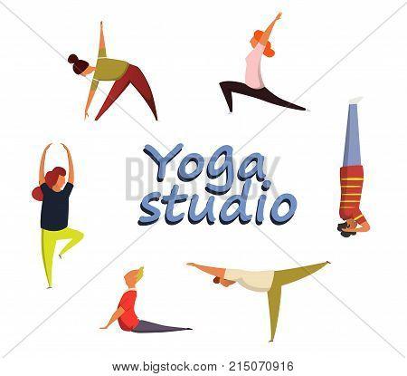 A set of funny human figures performing various yoga asanas.Yoga exercises. Women yoga. Good for yoga class, yoga center, yoga studio. Yoga poster. Healthy lifestyle.