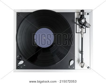 Aerial view top down onto a vinyl record on vintage hi-fi stereo disc turntable isolated against white background