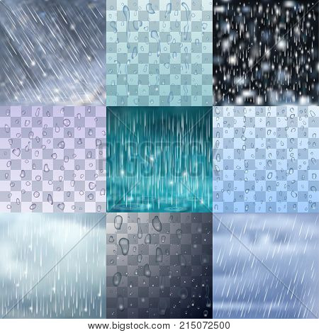 Different rain drops and rainy lines background vector water raindrop illustration. Nature bad weather rain drops