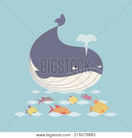 Blue whale icon. Cute cartoon sign. Powerful and dynamic ocean marmals. Wildlife under sea symbol. Design for save wahles. oceanic ecosystem banner. Animal watching funny emblem. Vector illustration