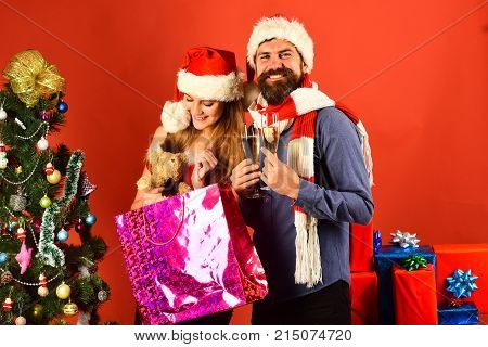 Christmas Party Concept. Man And Woman With Smiling Faces