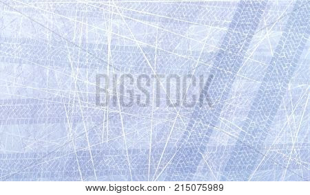 Traces of car tires on ice. Texture of ice surface. Track with separate grunge texture, tire marks, tire tread, tread marks. Sport. Ice racing on machines. Controlled drift. Vector background