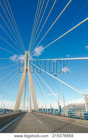 The Rio-Antirrio Bridge, officially the Charilaos Trikoupis Bridge, longest multi-span cable-stayed bridges and longest of the fully suspended type, Greece