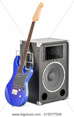 Concert loudspeaker with blue electric guitar 3D rendering isolated on white background
