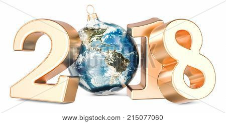 Happy New Year 2018 with Christmas ball shaped as Earth globe 3D rendering