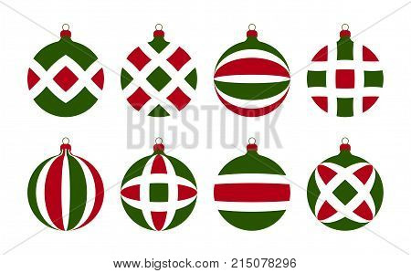 collection of vector christmas balls isolated on white background