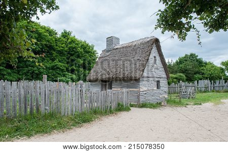 PLYMOUTH, MA, USA - JUNE 20, 2009: Plimoth Plantation replicates the original settlement of the Pilgrims at Plymouth Colony, where according to myth the first thanksgiving may have been held in 1621.