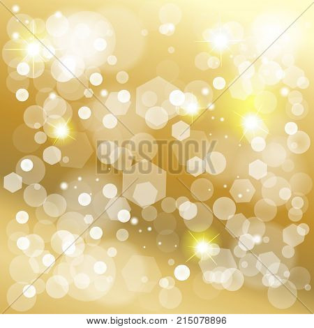 Abstract bokeh lights gold background for Birthday, Wedding Day, Winter Holiday Christmas, Valentines Day. Vector festive defocused lights, blurred sparkles, glitter confetti, shine background vector template.