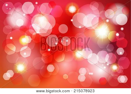 Abstract bokeh lights red background for Birthday, Wedding Day, Winter Holiday Christmas, Valentines Day. Vector festive defocused lights, blurred sparkles, glitter confetti, shine background vector template.