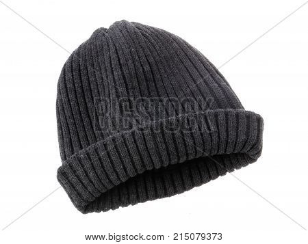 A gray beanie isolated on white background.