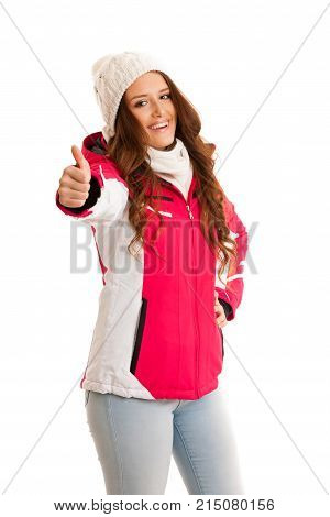 Woman In Pink Winter Jacket Ishowing Thumb Up Solated Over White Background