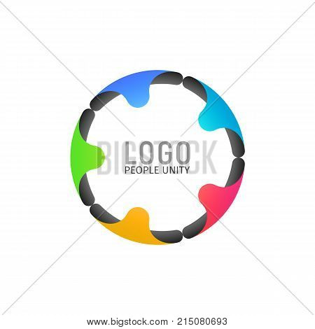 Tight ring of people isolated logotype. Five people holding hands formed a circle logo on light background. Vector illustration